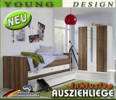 neu 2tlg kinderzimmer kinderbett funktionsbett kleiderschrank nussbaum wei ebay. Black Bedroom Furniture Sets. Home Design Ideas