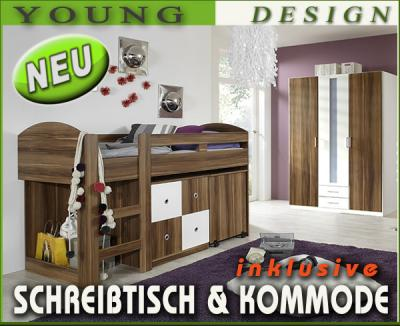 neu komplett kinderzimmer hochbett kleiderschrank kommode schreibtisch nussbaum ebay. Black Bedroom Furniture Sets. Home Design Ideas
