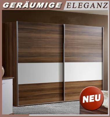 neu 270cm kleiderschrank in nussbaum wei schwebet ren schrank schlafzimmer ebay. Black Bedroom Furniture Sets. Home Design Ideas