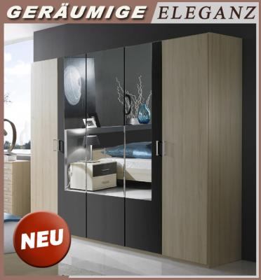 neu moderner 225cm kleiderschrank buche dekor anthrazit schlafzimmerschrank ebay. Black Bedroom Furniture Sets. Home Design Ideas