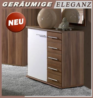 neu kommode nussbaum dekor weiss anrichte kombikommode schlafzimmer sideboard ebay. Black Bedroom Furniture Sets. Home Design Ideas