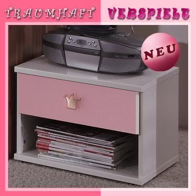 neu babyzimmer nachttisch weiss rosa kinderzimmer. Black Bedroom Furniture Sets. Home Design Ideas