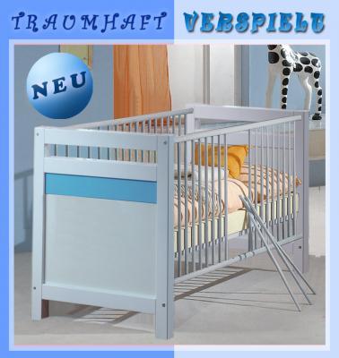 neu babybett weiss blau gitterbett babyzimmer bett kinderbett schlupfsprossen ebay. Black Bedroom Furniture Sets. Home Design Ideas