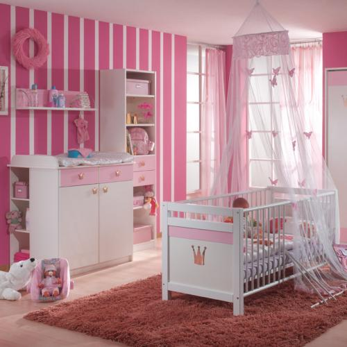 top komplett babyzimmer 4tlgset wei rosa krone babybett. Black Bedroom Furniture Sets. Home Design Ideas