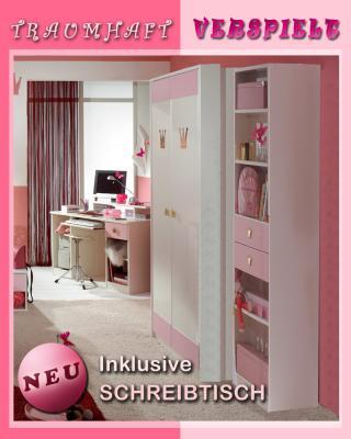 traumhaft 3tlg kinderzimmer wei rosa kleiderschrank computertisch hochregal ebay. Black Bedroom Furniture Sets. Home Design Ideas