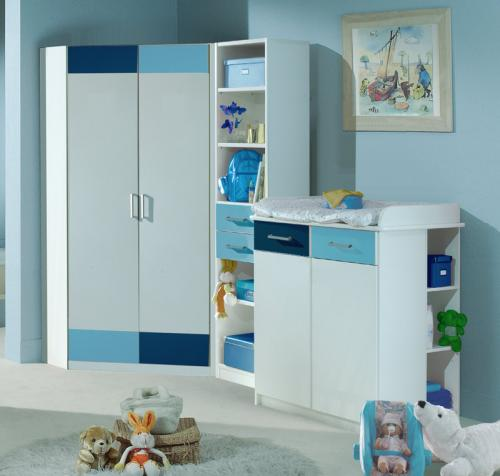 komplett babyzimmer weiss blau eck kleiderschrank. Black Bedroom Furniture Sets. Home Design Ideas