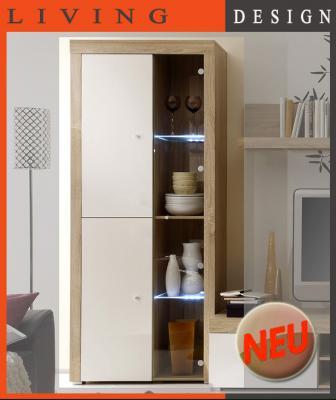 neu edle vitrine eiche weiss vitrinenschrank sideboard buffet vorratsschrank ebay. Black Bedroom Furniture Sets. Home Design Ideas