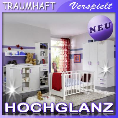 neu komplett babyzimmer in hochglanz wei kleiderschrank babybett wickelkommode ebay. Black Bedroom Furniture Sets. Home Design Ideas