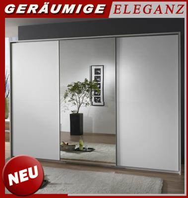 neu 300cm kleiderschrank weiss m spiegelt ren schwebet ren schlafzimmerschrank ebay. Black Bedroom Furniture Sets. Home Design Ideas