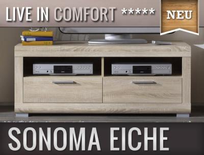 neu modernes lowboard in sonoma eiche sideboard tv rack wohnwand fernsehtisch ebay. Black Bedroom Furniture Sets. Home Design Ideas