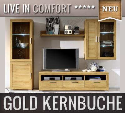*NEU* Moderne Wohnwand in Gold Kernbuche Anbauwand Vitrine ...