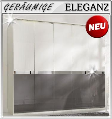 neu 250cm kleiderschrank hochglanz wei grau chromleiste schlafzimmer schrank ebay. Black Bedroom Furniture Sets. Home Design Ideas