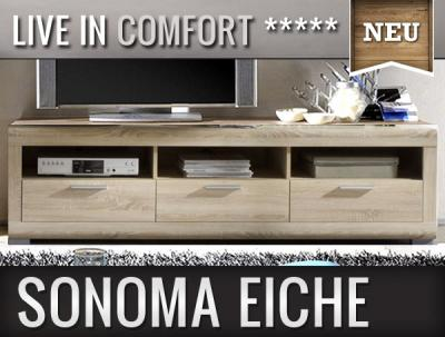 neu modernes lowboard in sonoma eiche sideboard tv rack wohnwand fernsehtisch ebay. Black Bedroom Furniture Sets. Home Design Ideas