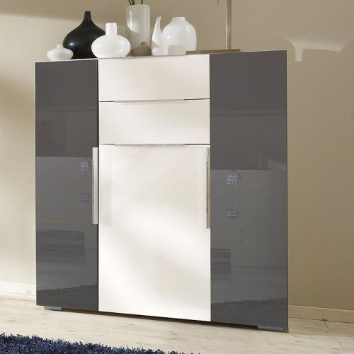 top schlafzimmer sideboard in hochglanz weiss grau. Black Bedroom Furniture Sets. Home Design Ideas