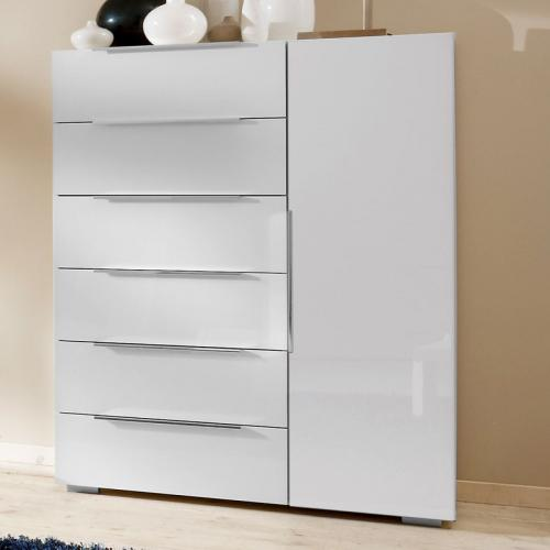 top schlafzimmer sideboard in hochglanz weiss 120cm. Black Bedroom Furniture Sets. Home Design Ideas