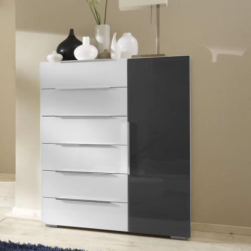 top schlafzimmer sideboard in hochglanz weiss grau kommode anrichte schrank ebay. Black Bedroom Furniture Sets. Home Design Ideas