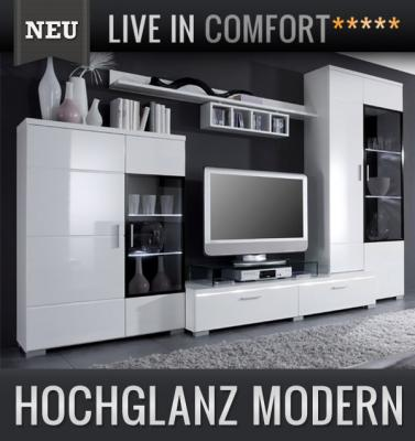 neu moderne led wohnwand hochglanz wei montiert. Black Bedroom Furniture Sets. Home Design Ideas