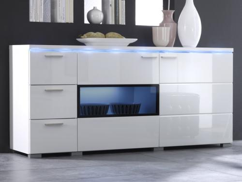 design sideboard in hochglanz weiss montiert led anrichte highboard kommode ebay. Black Bedroom Furniture Sets. Home Design Ideas