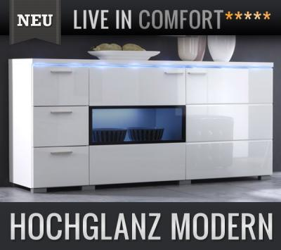 neu design sideboard in hochglanz weiss montiert led anrichte highboard kommode ebay. Black Bedroom Furniture Sets. Home Design Ideas