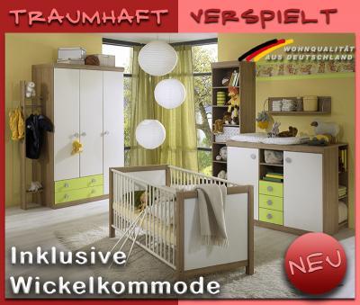 NEU* Komplett Babyzimmer weiß - grün - Nocce Kleiderschrank ...