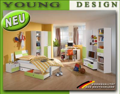 neu komplett jugendzimmer kinderzimmer wei gr n kleiderschrank schreibtisch ebay. Black Bedroom Furniture Sets. Home Design Ideas