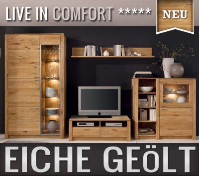 neu 4tlg wohnwand eiche massiv ge lt anbauwand schrankwand vitrine led lowboard ebay. Black Bedroom Furniture Sets. Home Design Ideas