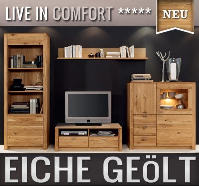 neu 4 tlg wohnwand eiche massiv ge lt anbauwand schrankwand vitrine lowboard ebay. Black Bedroom Furniture Sets. Home Design Ideas