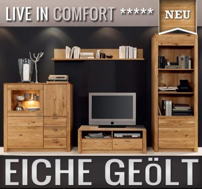 neu massive wohnwand eiche ge lt anbauwand schrankwand b cherregal lowboard ebay. Black Bedroom Furniture Sets. Home Design Ideas