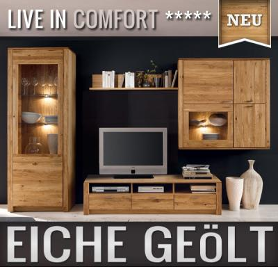 neu wohnwand eiche massiv ge lt montierte anbauwand schrankwand edelstahl led ebay. Black Bedroom Furniture Sets. Home Design Ideas