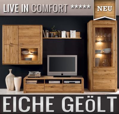 neu massive wohnwand eiche ge lt montierte anbauwand. Black Bedroom Furniture Sets. Home Design Ideas