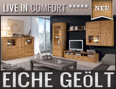 neu 5 tlg wohnwand inkl highboard eiche massiv montierte anbauwand edelstahl ebay. Black Bedroom Furniture Sets. Home Design Ideas