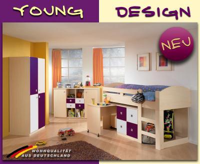 Jugendzimmer komplett mit hochbett  NEU* Komplett Jugendzimmer Hochbett Kleiderschrank Sideboard Ahorn ...