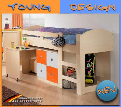 neu kinderzimmer hochbett mit kommode schreibtisch in ahorn wei orange ebay. Black Bedroom Furniture Sets. Home Design Ideas