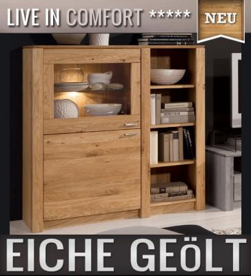 neu massives highboard eiche ge lt anrichte vitrine buffetschrank regalschrank ebay. Black Bedroom Furniture Sets. Home Design Ideas