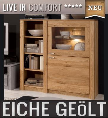neu highboard eiche massiv ge lt sideboard. Black Bedroom Furniture Sets. Home Design Ideas