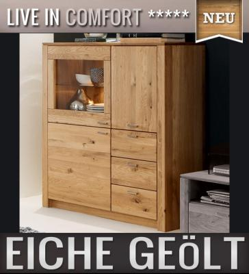 neu highboard eiche massiv ge lt vitrine vitrinenschrank. Black Bedroom Furniture Sets. Home Design Ideas