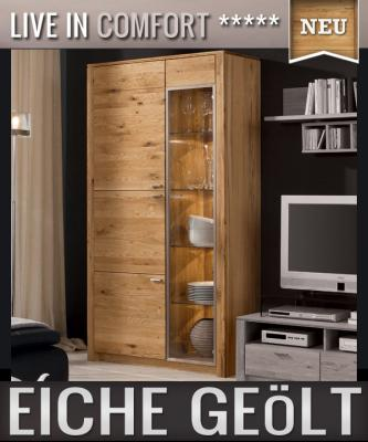 neu vitrinenschrank eiche massiv ge lt edelstahl wohnwand vitrine standvitrine ebay. Black Bedroom Furniture Sets. Home Design Ideas