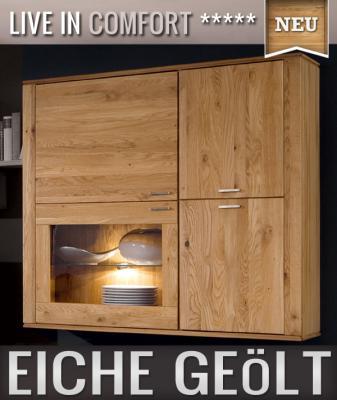 neu h ngevitrine eiche massiv ge lt led wohnwand. Black Bedroom Furniture Sets. Home Design Ideas