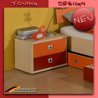 neu jugendzimmer nachtschrank ahorn orange rot nachttisch kinderzimmer ebay. Black Bedroom Furniture Sets. Home Design Ideas