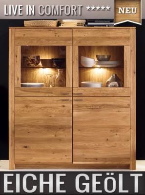 neu led highboard eiche massiv ge lt kommode vitrine. Black Bedroom Furniture Sets. Home Design Ideas