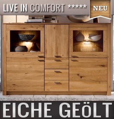 neu massives highboard eiche ge lt k chenbuffet kommode esszimmer anrichte ebay. Black Bedroom Furniture Sets. Home Design Ideas