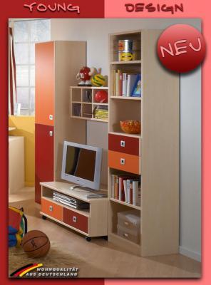 Neu jugendzimmer wohnwand ahorn orange rot kinderzimmer for Jugendzimmer schrankwand