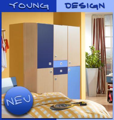 Neu 3 trg kinderzimmer kleiderschrank in ahorn nb blau for Jugendzimmer schrank