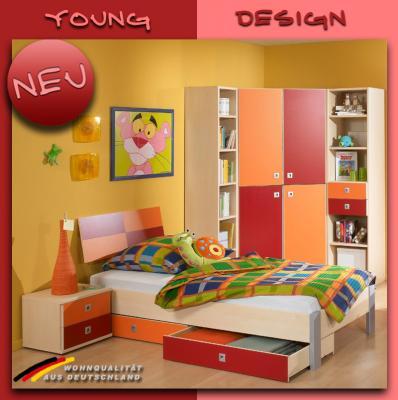 neu komplett jugendzimmer 7tlg ahorn orange kinderzimmer jugendbett sideboard ebay. Black Bedroom Furniture Sets. Home Design Ideas