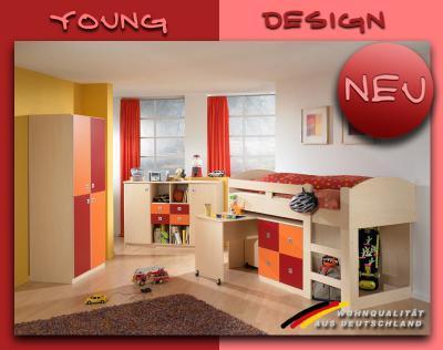 neu komplett kinderzimmer ahorn orange rot hochbett kleiderschrank sideboard ebay. Black Bedroom Furniture Sets. Home Design Ideas