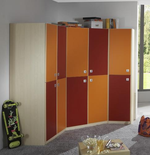kleiderschrank eckkleiderschrank in ahorn orange rot. Black Bedroom Furniture Sets. Home Design Ideas