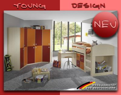 neu komplett jugendzimmer kleiderschrank in ahorn orange rot schrank hochbett ebay. Black Bedroom Furniture Sets. Home Design Ideas