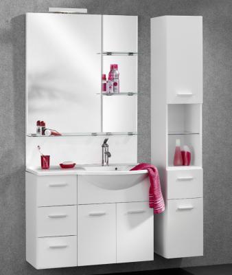 neu badezimmer set glanz weiss hochschrank spiegel gussbecken badm bel badblock ebay. Black Bedroom Furniture Sets. Home Design Ideas