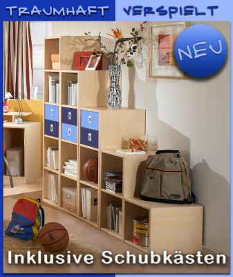 neu jugendzimmer regalwand ahorn blau kinderzimmer regal sideboard wohnwand. Black Bedroom Furniture Sets. Home Design Ideas