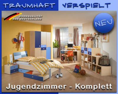neu komplett jugendzimmer ahorn blau schreibtisch jugendbett schrank regalwand ebay. Black Bedroom Furniture Sets. Home Design Ideas